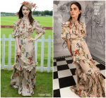 Lily Collins In Johanna Ortiz  @ Cartier Queen's Cup Polo