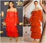 Zendaya  Coleman  In Carolina Herrera   @  2018 MTV Movie & TV Awards