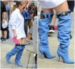 Jennifer Lopez  In Versace Denim Boots  @ MTV Studios