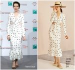 Claire Foy in Carolina Herrera @ 'The Girl in the Spider's Web' Rome Film Festival Photocall