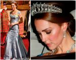 Kate Middleton wears Princess Diana's Tiara & diamond Necklace  @ State Banquet
