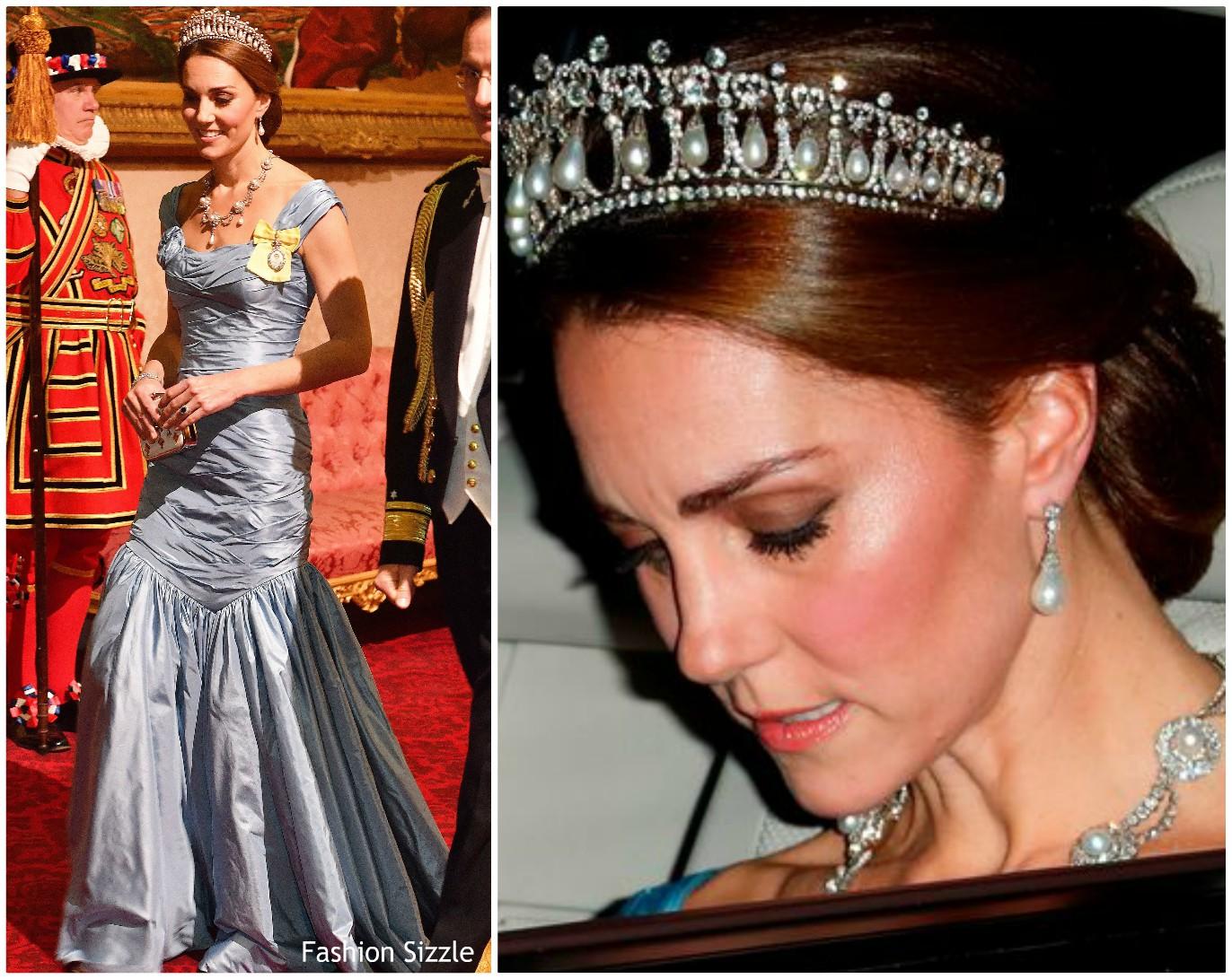 kate-middleton-wears-princess-dianas-tiara-diamond-necklace-state-banquet-buckingham-palace