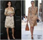 Rihanna In  Burberry Trenchcoat @ Sephora In Dubai