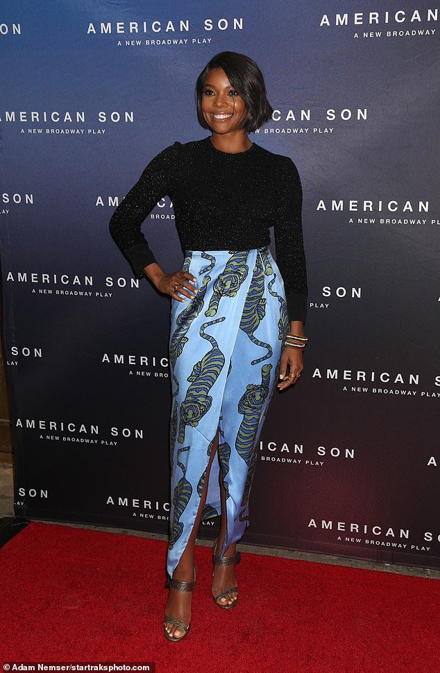 2d06b71566e Along with Kerry Washington actress Gabrielle Union attended the opening  night party for Kerry s play  American Son  in New York.