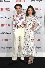 Charlie Heaton (in Dior Homme) and Natalie Dyer (in Oscar de la Renta) @ 'Velvet Buzzsaw' LA Premiere
