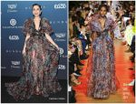 Lily Collins In Elie Saab  @ Art Of Elysium Gala