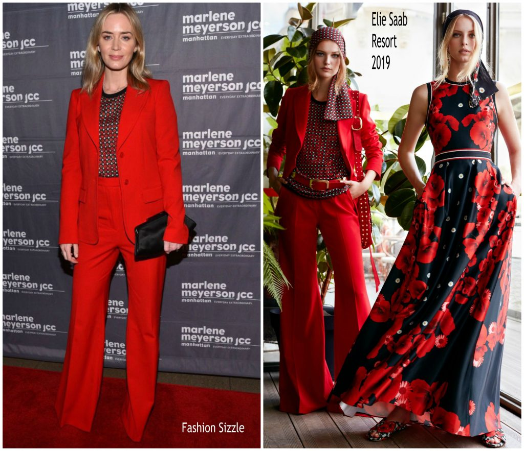 Emily Blunt In Elie Saab To Dust New York Screening Fashionsizzle
