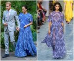 Meghan, Duchess of Sussex In Carolina Herrera @ King Mohammed VI of Morocco Reception