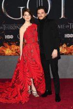 Rose Leslie (in Oscar de la Renta) and Kit Harington (in Givenchy) @ 'Game of Thrones' Season 8 New York Premiere