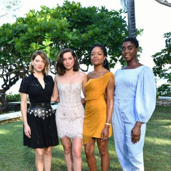 lea-seydoux-(in-louis-vuitton),-ana-de-armas-(in-rasario),-naomie-harris-(in-cushnie)-and-lashana-lynch-(in-emilia-wickstead)-@-bond-25-launch-in-jamaica