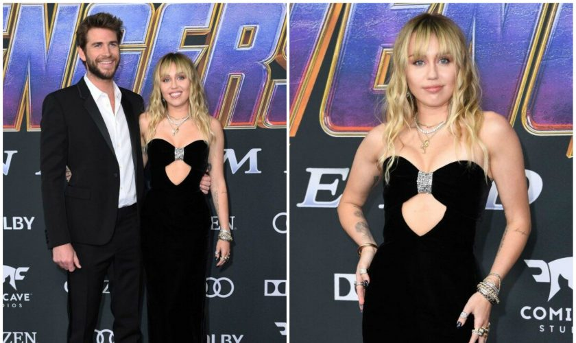 miley-cyrus-liam-hemsworth-in-saint-laurent-the avengers-endgame-la-premiere