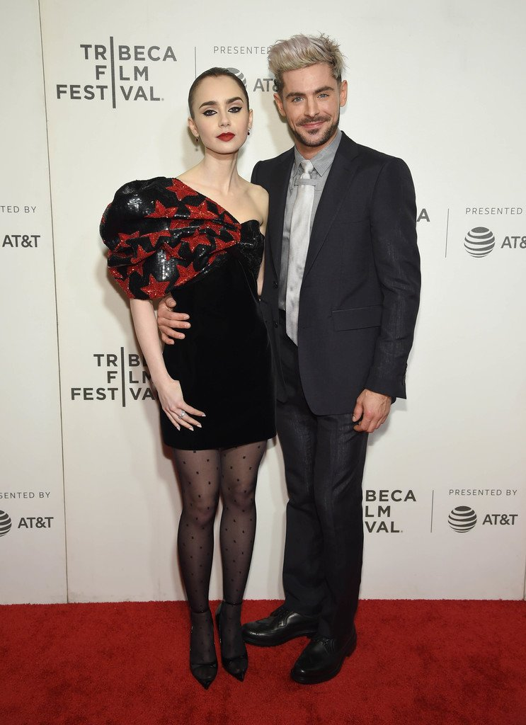 lily-collins-(in-saint-laurent)-and-zac-efron-(in-burberry)-@-'extremely-wicked,-shockingly-evil-and-vile'-tribeca-film-festival-premiere