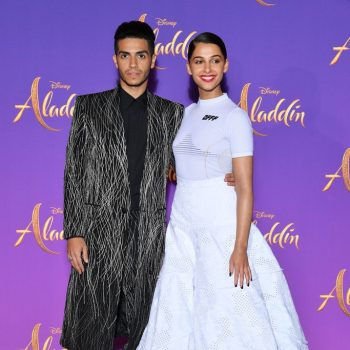 mena-massoud-(in-givenchy)-and-naomi-scott-(in-off-white)-@-'aladdin'-paris-premiere