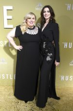 Rebel Wilson (in Christopher Kane) and Anne Hathaway (in Elie Saab) @ 'The Hustle' LA Premiere