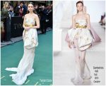 "Lily Collins in Giambattista Valli Couture @ ""Tolkien"" London Premiere"