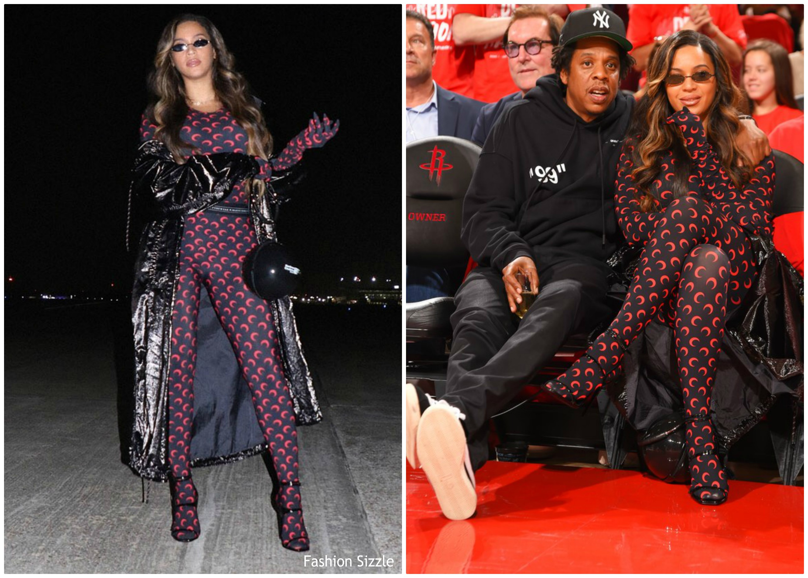 beyonce-knowles-in -Marine-serre-nba-playoffs-game-six-in-texas