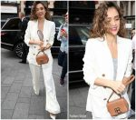 Jessica Alba   In White Suit Arriving at Global Radio Studios in London
