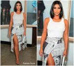 Kim Kardashian In  Vintage Dior @  Newspaper Print At A Levi Event