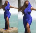 "Beyonce Knowles In Blue Hooded Gown  For ""Spirit"" Music Video"