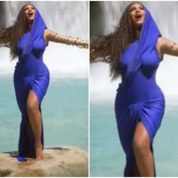 beyonce-knowles -in-blue -hooded dress-spirit-music-video