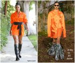 Ciara In  Orange Off- White   Dress @  Out In Los Angeles