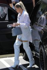 Khloe Kardashian   White  Shirt Dress &  Gianvito Rossi  Boots
