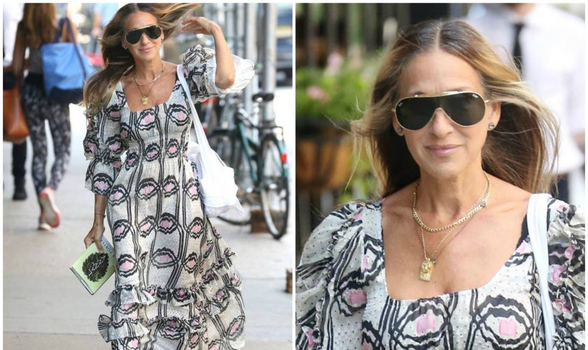 sarah-jessica-parker-in-floral-dress-out-in-new-york-2019