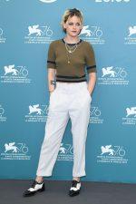 Kristen Stewart In Chanel & Brunello Cucinelli @ 'Seberg' Venice Film Festival Photocall