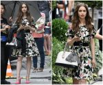 Lily Collins  In Dolce & Gabbana  Shooting  'Emily In Paris'