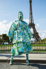 Cardi B  In Richard Quinn @ Paris Fashion Week
