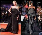 Elizabeth Debicki In Schiaparelli Haute Couture @ 'The Burnt Orange Heresy' Venice Film Festival  Premiere
