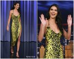 Kendall Jenner  In  Versace @ Tonight Show Starring Jimmy Fallon