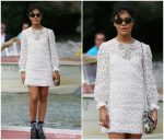Tessa Thompson  In Miu Miu Arriving @ 2019 Venice Film Festival in Venice, Italy