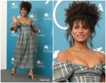 Zazie Beetz In Rosie Assoulin @  'Joker' Venice Film Festival Photocall