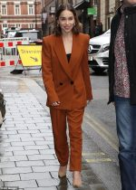 Emilia Clarke  In  Petar Petrov Suit @  'Last Christmas' Promo In London