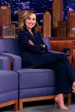 Emilia Clarke In Dolce & Gabbana Suit  @  Tonight Show Starring Jimmy Fallon