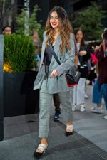 Selena Gomez In  Checkered  Frame Suit  Arriving to iheart radio  In New York