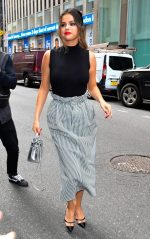 Selena Gomez In Miu Miu  Skirt  While on Promo Tour In New York