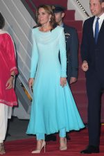 Catherine, Duchess Of Cambridge Wears Catherine Walker For  Pakistan Arrival