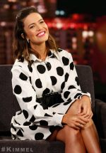 Mandy Moore  In  Carolina Herrera Polka Dots @ Jimmy Kimmel Live
