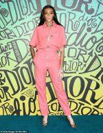 Winnie Harlow In   Pink Jumpsuit @ Dior Men's Fall 2020 Runway Show