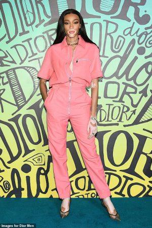 winnie-harlow-in-pink-jumpsuit-dior-mens-fall-2020-runway-show