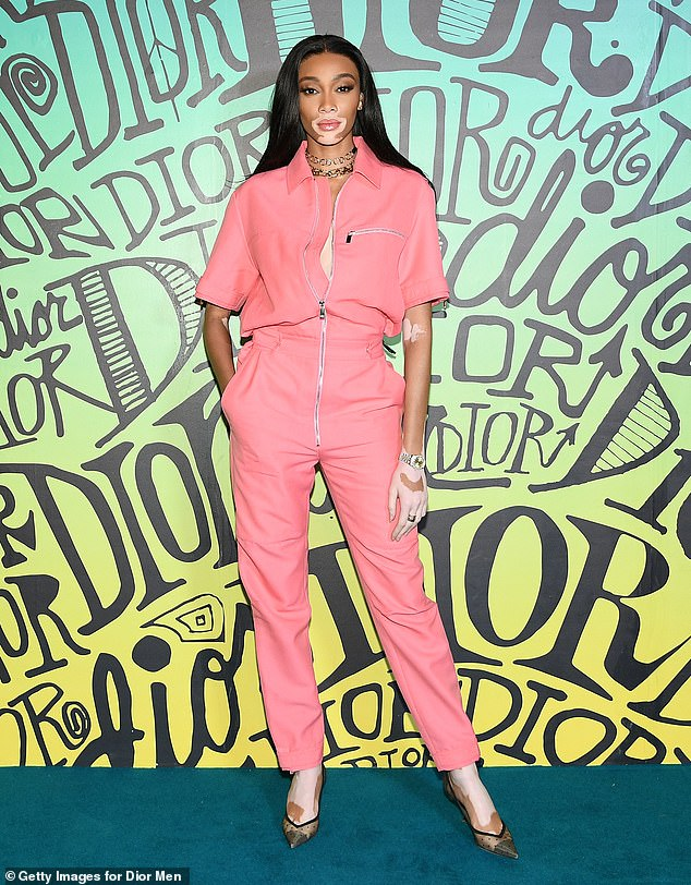 winnie-harlow-in-pink-jumpsuit-dior-mens-fall-2020-runway-show