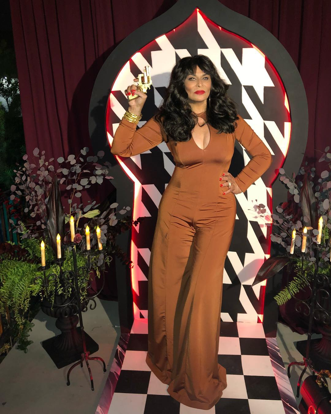 tina-lawson-dressed-as-foxy-brown-for-halloween-2019