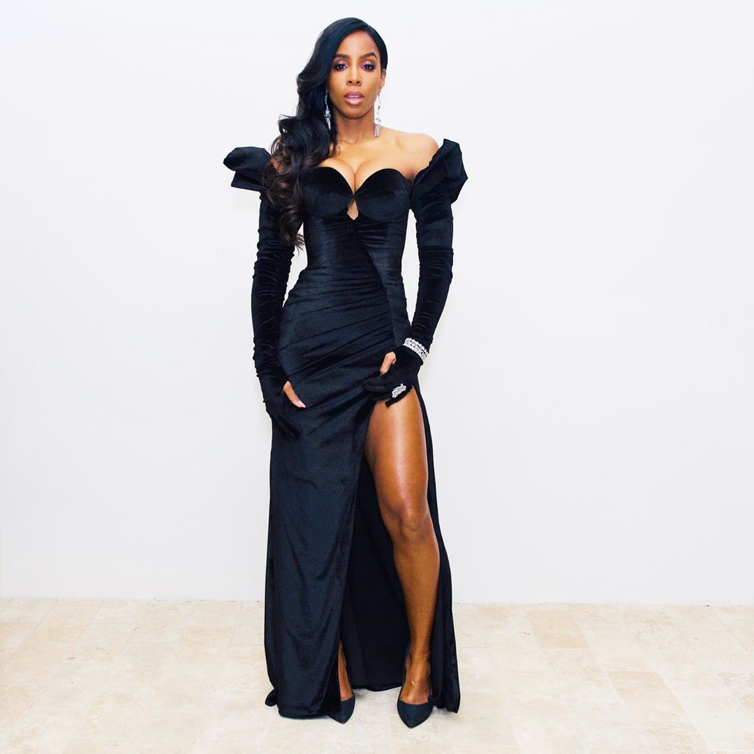 kelly-rowland-in-black-gown-sean-combs-50th-birthday-bash