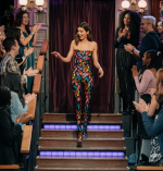 Kendall Jenner In  Vintage Salvatore Ferragamo @  The Late Late Show With James Corden