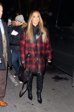 Jennifer Lopez In  Coach 1941 Coat Arriving to Appear on SNL Cast Dinner in New York