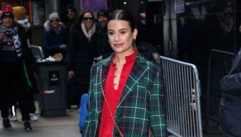 lea-michele-in-a-green-tartan-coat-red-dress-outside-gma