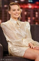 Margot Robbie  In The  Vampire's Wife  Dress @ Jimmy Kimmel Live