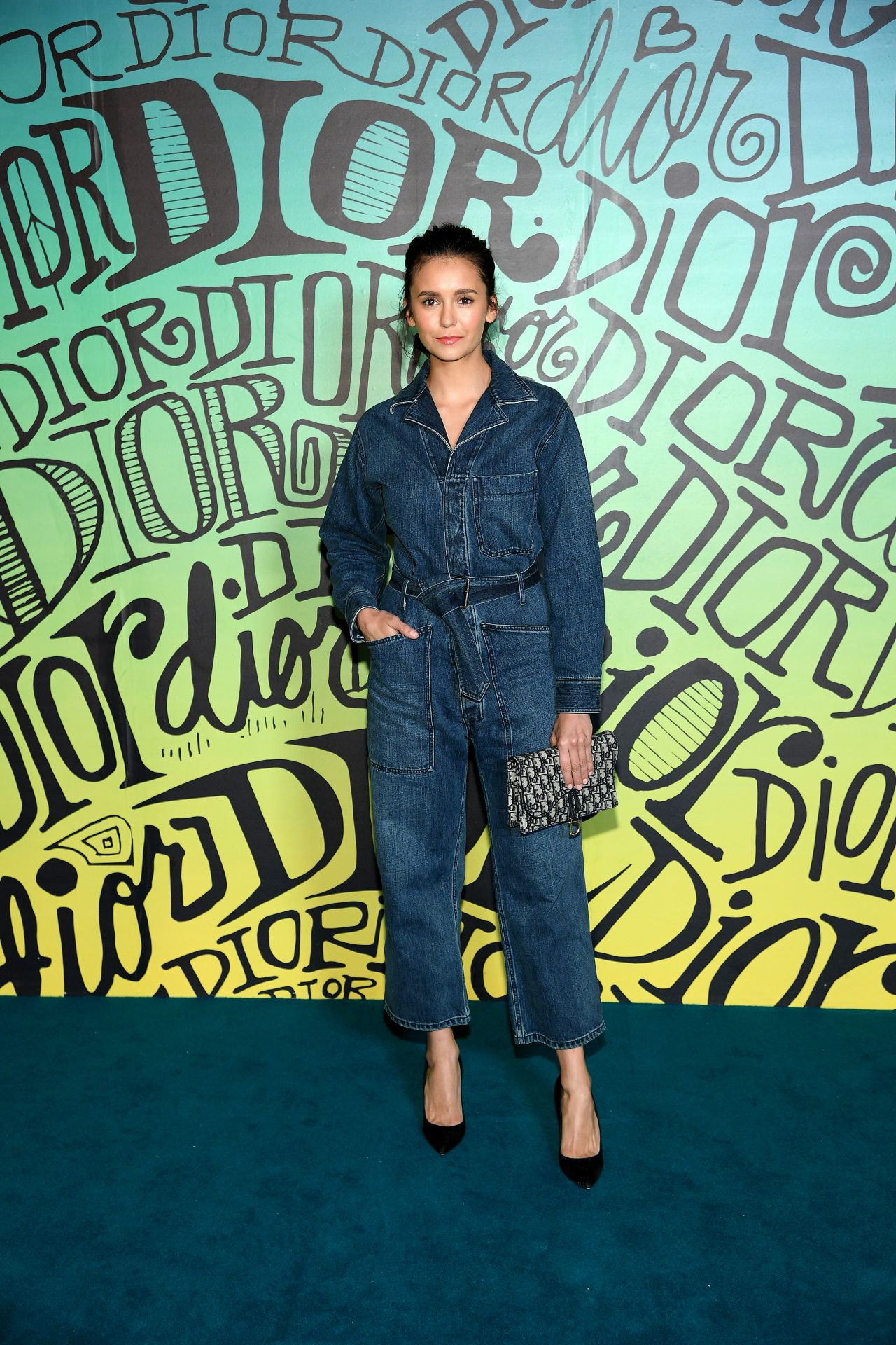 nina-dobrev-in-denim-jumpsuit-front-row-dior-mens-fall-2020-show
